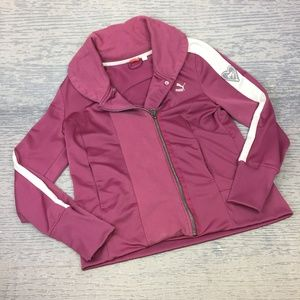 Puma berry white asymmetric zip jacket